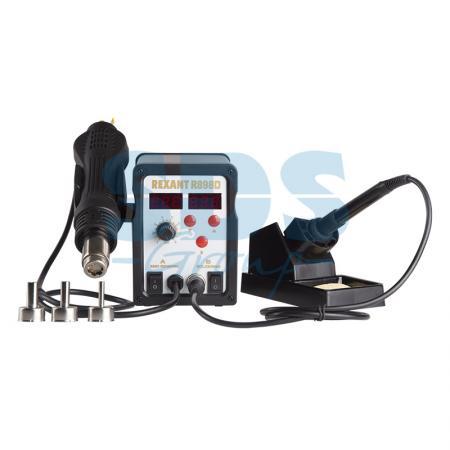 Паяльная станция (паяльник + термофен) с цифровым дисплеем 150-500°С (R898D) REXANT паяльная станция зубр 55335 профи цифровая с жк дисплеем керам нагреватель 150 450°c 48вт