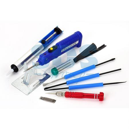 Набор для пайки (паяльник 8Вт, оловоотсос, подставка, припой, отвертка, интрумент для монтажа) REXANT паяльник rexant набор для пайки zd 303 a 12 0164