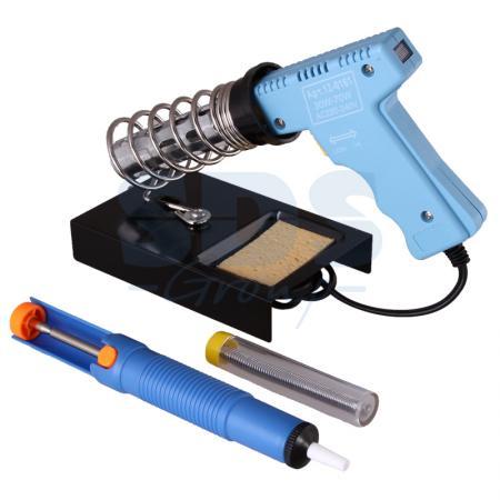 Набор для пайки (паяльник импульсный 30/70 Вт, оловоотсос, подставка, припой) REXANT набор для пайки 6 предметов rexant
