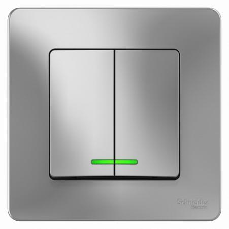 Выключатель SCHNEIDER ELECTRIC BLNVS010513 Blanca 2-кл. сп сх.5 10А 250В с подсветкой алюм.