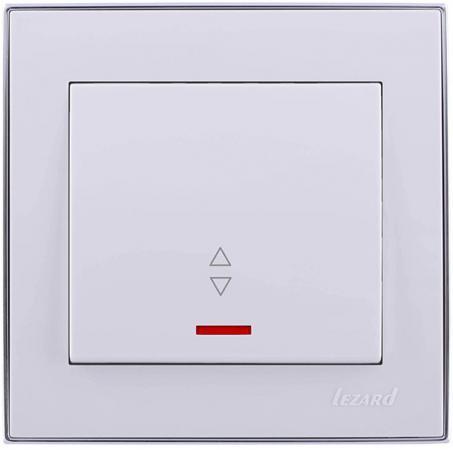 Выключатель LEZARD 703-0225-114 серия скр.проводки Рейн проходной подсветка белый с хромовой вст.