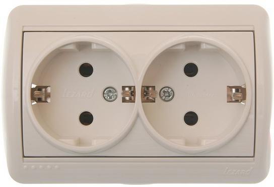 Розетка LEZARD 710-0200-128 двойная б/з закр.корпус керамика наруж.проводки серии Ната белый