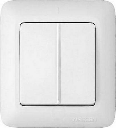 Выключатель WESSEN A56-029-BI Прима Бел 2-клавишный 6А наружный в сборе индивид.упаковка