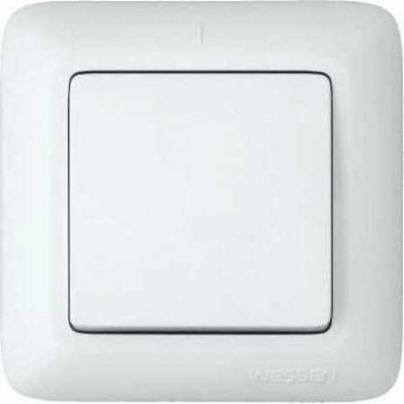 Выключатель WESSEN S16-057-BI Прима Бел 1-клавишный 6А в сборе индивид.упаковка
