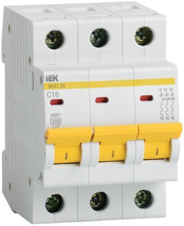 Выключатель автоматический модульный ИЭК 3п C/ 50А ВА 47-29 MVA20-3-050-C автомат iek 2п c 50а ва 47 29
