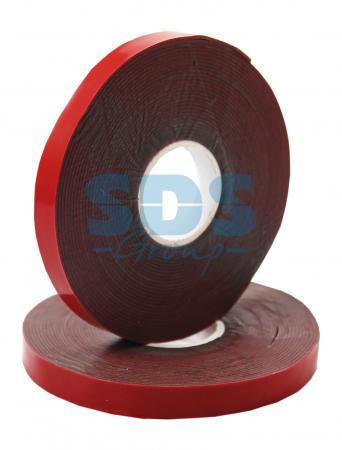 Двухсторонний скотч, красного цвета на серой основе, 6мм, 5метров REXANT двухсторонний скотч прозрачный 12мм 5м rexant
