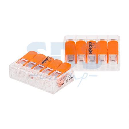 221-415 Клемма 5 контактная компактная 0,2-4 кв. мм 25шт WAGO цена