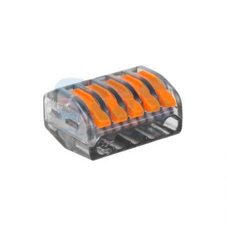 Универсальная многоразовая 5-проводная клемма REXANT (0,08-2,5 (4) мм?) прозрачные 07-5255-1