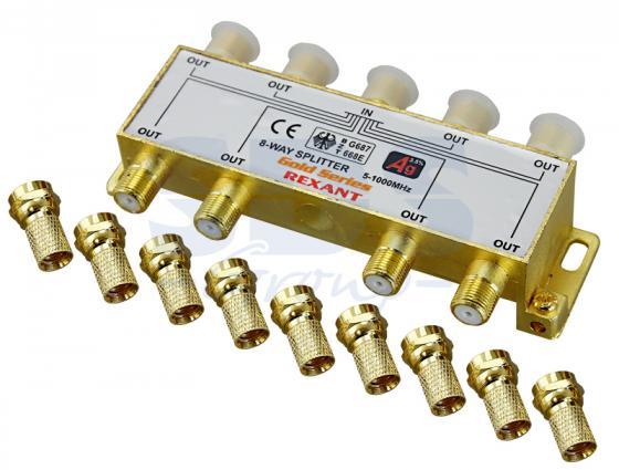 ДЕЛИТЕЛЬ ТВ х 8 + 9шт. F BOX 5-1000 МГц GOLD REXANT moyo box oнлайн тв плеер