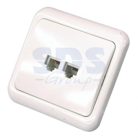 Телефонная розетка внутренняя - 2 6P-4C (2 порта) REXANT телефонная розетка abb bjb basic 55 шато 1 разъем цвет черный