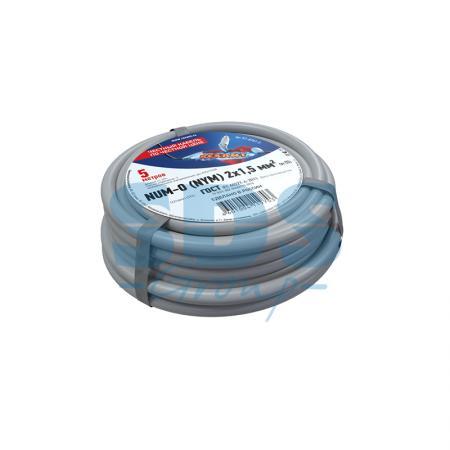 Кабель NUM-O (NYM) 2x1,5 мм?, 5 м., ГОСТ кабель nym 2х2 5 мм гост 100 м