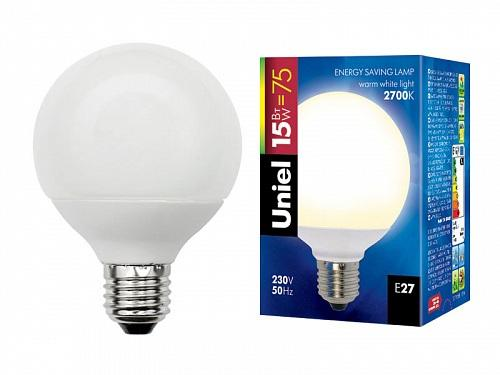 Лампа энергосберегающая (00863) E27 15W 2700K шар матовый ESL-G80-15/2700/E27 uniel e27 11вт 2700k s2111270027c
