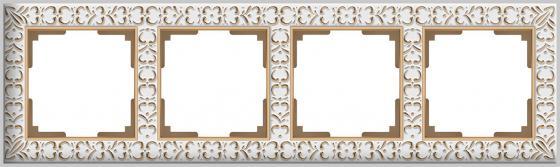 Рамка Antik на 4 поста белое золото WL07-Frame-01 4690389099205