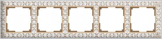 Рамка Antik на 5 постов белое золото WL07-Frame-01 4690389099212