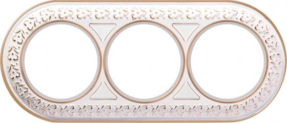 Рамка Antik Runda на 3 поста белое золото WL70-frame-03 4690389106538