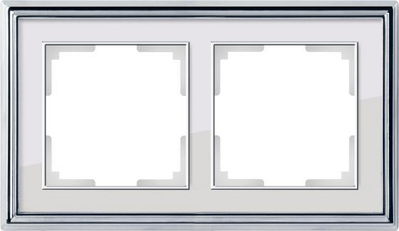 Рамка Palacio на 2 поста хром/белый WL17-Frame-02 4690389108105
