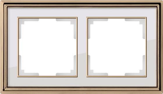 Рамка Palacio на 2 поста золото/белый WL17-Frame-02 4690389103629