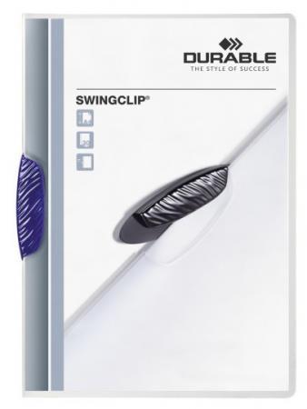 Папка SWINGCLIP с темно-синим клипом, прозрачный верхний лист, на 30 листов