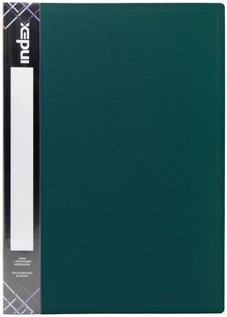 Папка с прижимным механизмом и карманом SATIN, форзац, ф.A4, 0,6мм, темно-зеленая