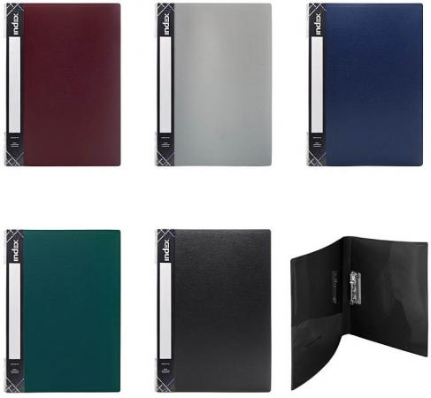 Папка с прижимным механизмом, ф.A4, 0,6 мм, карман, форзац, ассорти папка с прижимным механизмом ф a4 ассорти черн син красн зелен сер 0 4 мм