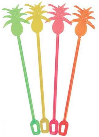 Палочки пластмассовые АНАНАС для коктейля, 24 см, 12 шт. в пакете, 6 цв. цена и фото