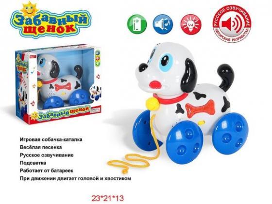 купить Каталка на шнурке Наша Игрушка Забавный щенок пластик от 3 лет на колесах белый ZYA-A1039 по цене 520 рублей
