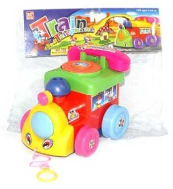 Каталка Наша Игрушка Паровозик с телефоном пластик от 1 года на колесах разноцветный 100959118 цена