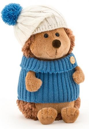 Мягкая игрушка ежик ORANGE Ёжик Колюнчик в шапке с голубым помпоном 15 см искусственный мех пластмасса наполнитель orange 7654 15 мягкая игрушка щенок рекс 15 см