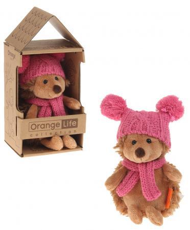 Мягкая игрушка ежик ORANGE Ежинка Колючка в шапке с двумя помпонами 15 см искусственный мех пластмасса наполнитель orange 7654 15 мягкая игрушка щенок рекс 15 см
