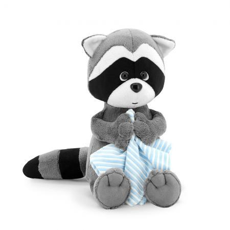 Мягкая игрушка енот ORANGE Енотик Дэнни с полотенцем 30 см искусственный мех ткань пластмасса