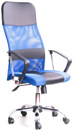 Кресло Recardo Smart (Синий, сетка/кожа, высота 1180-1270мм, спинка 740мм, Ш500*Г490, крест 700мм, макс. 120кг, газлифт/качание/откидывание)