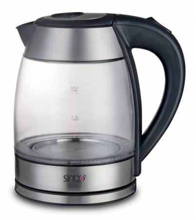 Чайник Sinbo SK 7379, 2200Вт, 1.7л, стекло, черный чайники электрические sinbo чайник sinbo sk 7338 1 7л 2200вт
