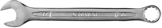 """Ключ STAYER """"PROFI"""""""" гаечный комбинированный, Cr-V сталь, хромированный, 17мм [27081-17] комбинированный гаечный ключ 27мм cr v кобальт 642 982"""