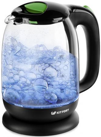 Чайник KITFORT КТ-625-2 2200 Вт чёрный зелёный 1.7 л пластик/стекло цена и фото