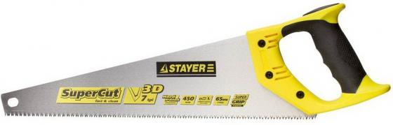 "Ножовка STAYER ""SUPER CUT"" по дереву, 2-комп. пластиковая ручка, 3D-заточка, закаленный зуб, 7 TPI (3,5мм), 450мм [1512-45]"