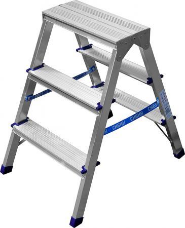 Лестница-стремянка двухсторонняя алюминиевая, СИБИН 38825-03, 3 ступени [38825-03]