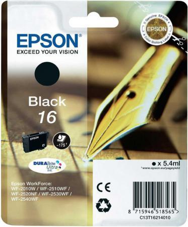Картридж EPSON 16 черный для WF-2010/WF-2510/WF-2540 картридж для струйных аппаратов epson 16 желтый для wf 2010 wf 2510 wf 2540 c13t16244010 c13t16244010