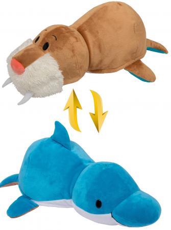 Подушка вывернушка 1toy Дельфин-Морж 40 см плюш подушка вывернушка 1toy розовый кот мышка 35 см плюш