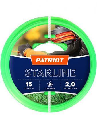 Леска Patriot STARLINE D 2,0 мм L 15 м (звезда, зеленая) леска starline d 3 0 мм l 15 м звезда блистер пр во россия 805205013
