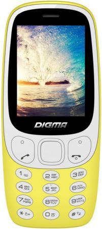 Мобильный телефон Digma N331 2G Linx 32Mb желтый моноблок 2Sim 2.44 128x160 0.08Mpix BT GSM900/1800 FM microSD max16Gb мобильный телефон soyes h1 1 3 mp3 fm bluetooth sms
