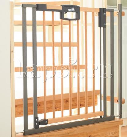 Ворота безопасности 80,5-88,5х81,5см Geuther Easylock Wood (натуральный/серебро) geuther 8 см серебро