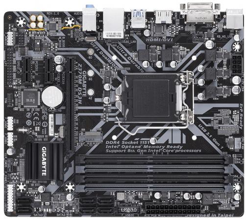 Материнская плата GigaByte H370M DS3H Socket 1151 v2 Z370 4xDDR4 1xPCI-E 16x 2xPCI-E 1x 6 mATX Retail цена и фото