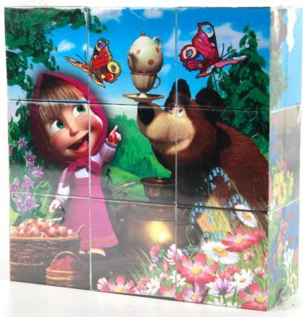 Набор кубиков ИГРАЕМ ВМЕСТЕ Маша и Медведь 9 шт играем вместе кубики winx 6 кубиков деревянные играем вместе