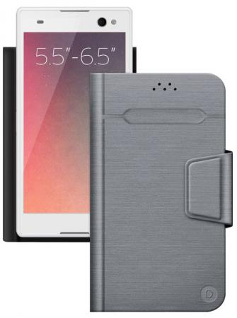 все цены на Чехол Deppa Чехол-подставка для смартфонов Wallet Fold L 5.5''-6.5'', серый, Deppa