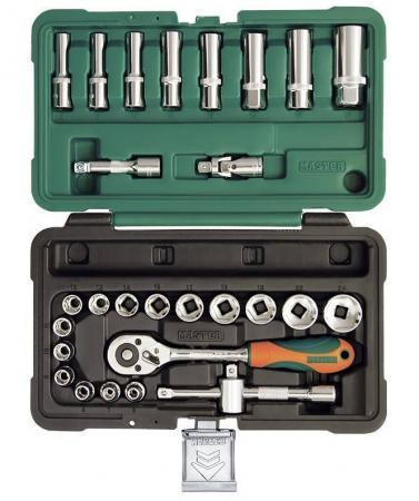 Набор инструментов MASTER 308128-M 28 предметов 3/8 6-гранный. 6-24мм в пластиковом кейсе