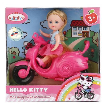 КУКЛА КАРАПУЗ HELLO KITTY. МАШЕНЬКА 12СМ, НА СКУТЕРЕ В РУСС. КОР. в кор.2*30шт куклы карапуз кукла карапуз hello kitty машенька 12 см на скутере