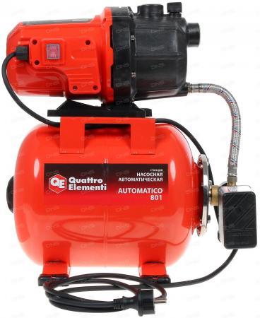 Насосная станция QUATTRO ELEMENTI Automatico 801 800Вт 3200л/ч для чистой 40м 12.95кг насосная станция quattro elementi automatico 1300 fl 770 667