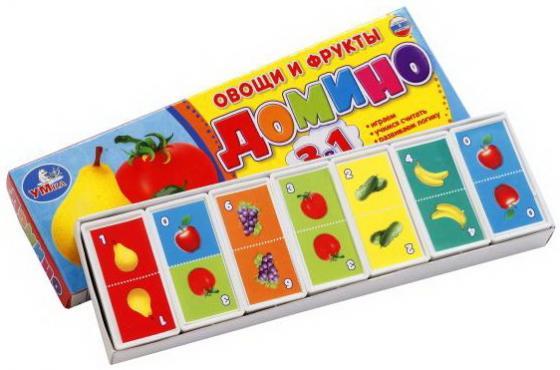 Настольная игра домино УМКА Овощи и фрукты 3-в-1 настольная игра домино стеллар мультфильмы 10