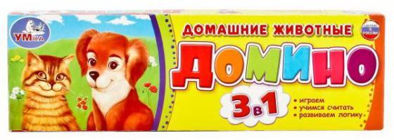 Настольная игра домино УМКА Домашние животные настольные игры dodo настольная игра домино животные