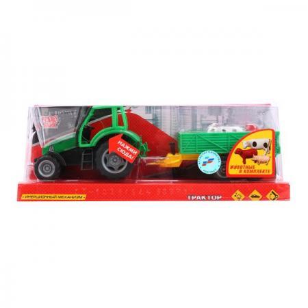 ТРАКТОР ТЕХНОПАРК МЕТАЛЛ. ИНЕРЦ. 18СМ, СВЕТ+ЗВУК С ЖИВОТНЫМИ НА ПРИЦЕПЕ В ПЛАСТ. КОР. в кор.2*24шт машинка hoffmann трактор с кузовом на прицепе масштаб 1 72 47528 зеленый трактор